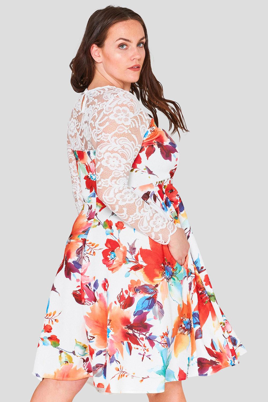 Lace Bodice Plus Size Floral Skater Dress Wholesale