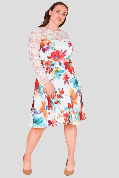 Lace Bodice Plus Size Floral Skater Dress Wholesale