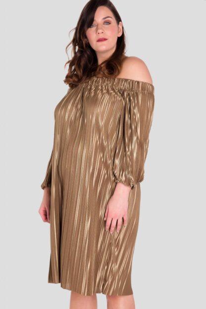Off The Shoulder Plus Size Pleat Dress Wholesale