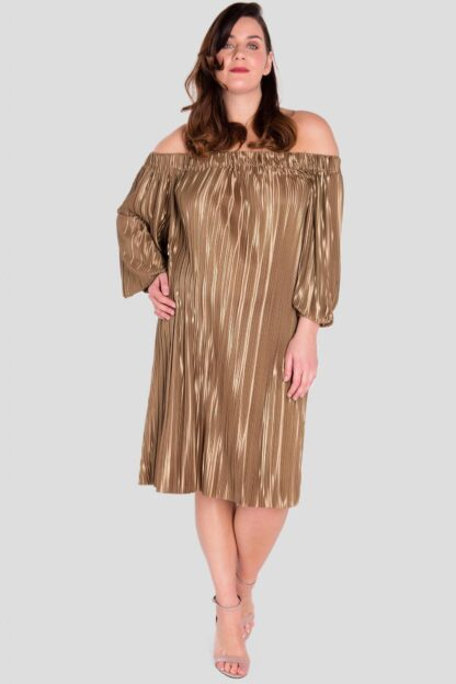 Off The Shoulder Plus Size Pleat Dress Wholesale
