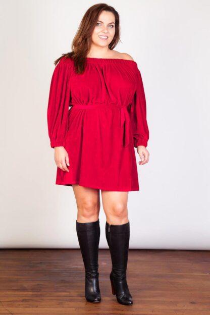 Off The Shoulder Plus Size Velvet Dress Wholesale