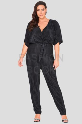 Pleat Wrap Front Plus Size Jumpsuit Wholesale