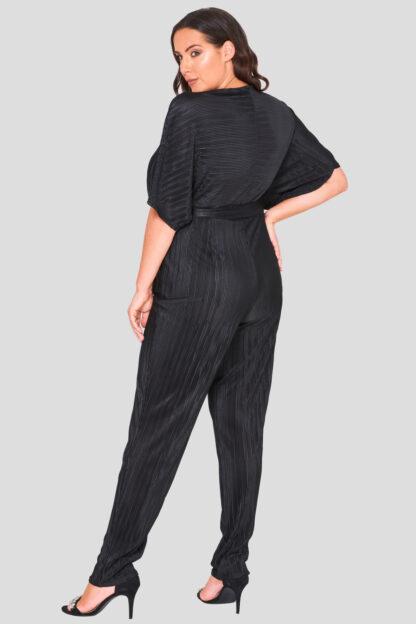 Pleat Wrap Front Plus Size Jumpsuit Wholesale