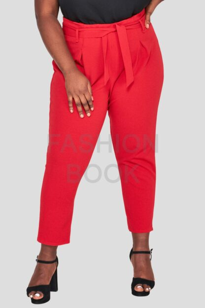 Red Plus Size Cigarette Trouser Wholesale Fashion Book