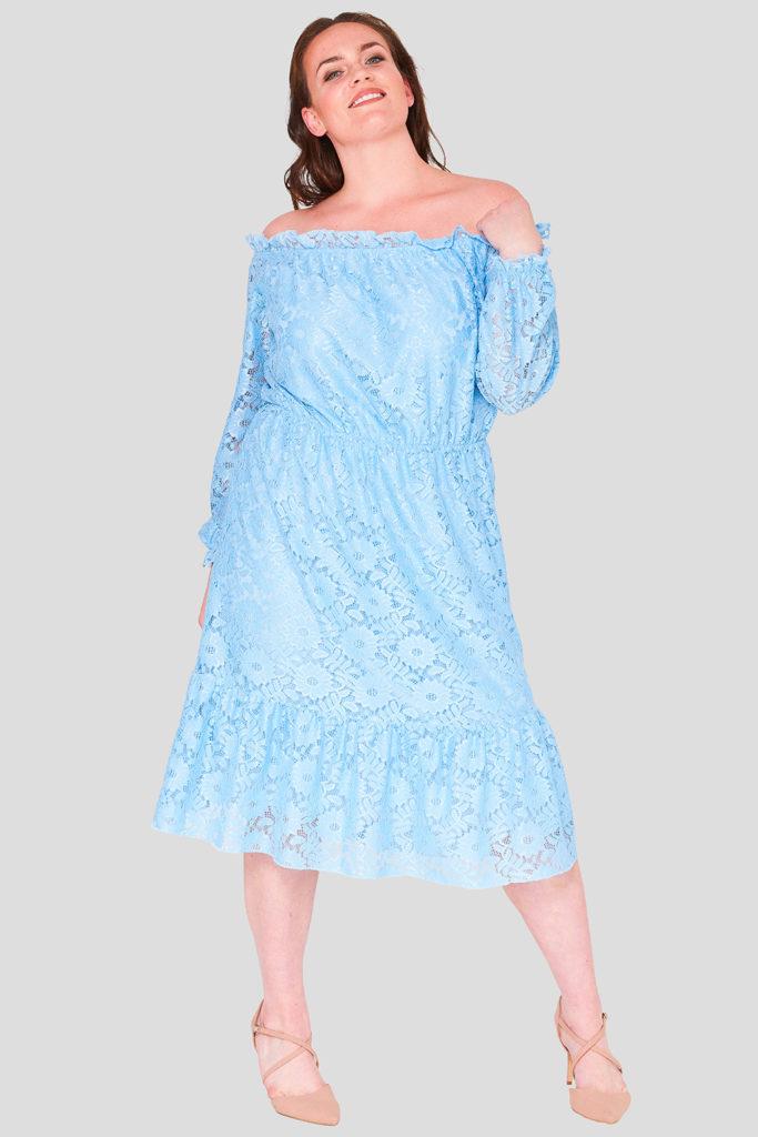 Sunflower Lace Plus Size Bardot Dress Wholesale