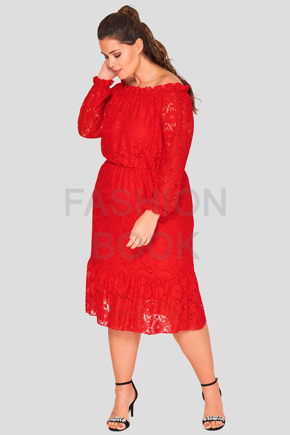 Sunflower Lace Plus Size Bardot Dress Wholesale