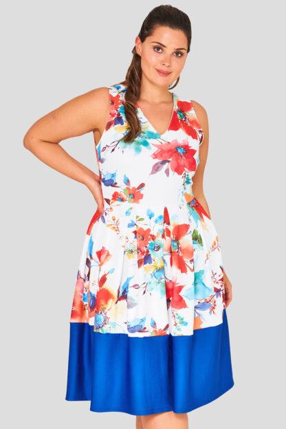 V Neck Floral Plus Size Skater Dress Wholesale