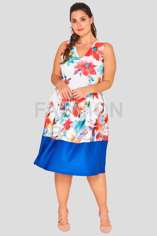 Wholesale Plus Size Floral Skater Dress - Fashion Book