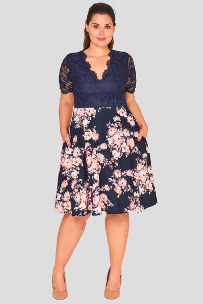 V Neck Lace Plus Size Print Skater Dress Wholesale