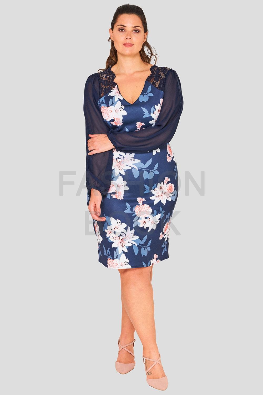 V Neck Print Plus Size Wholesale Bodycon Dress