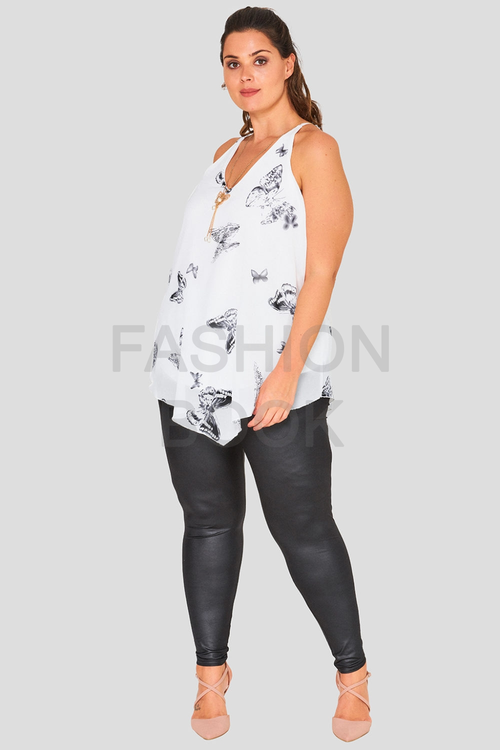 V Neck Plus Size Butterfly Print Cami Top Wholesale