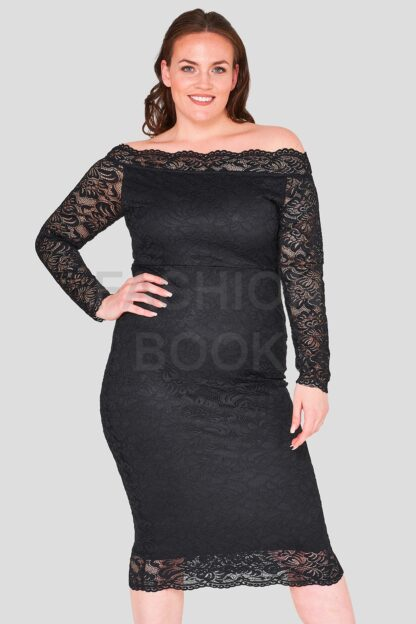 Scallop Bardot Lace Dress Wholesale