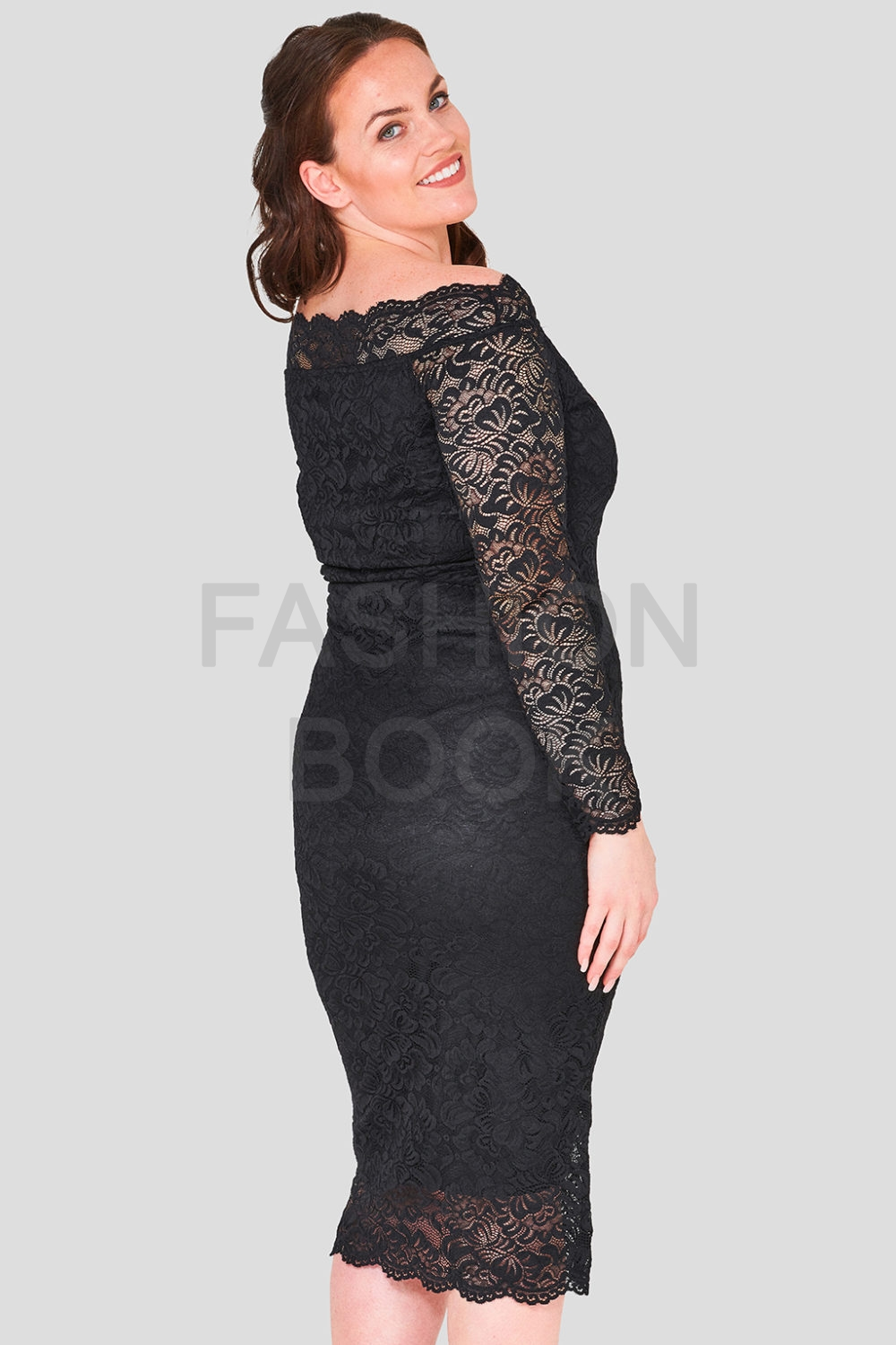 Scallop Bardot Lace Dress