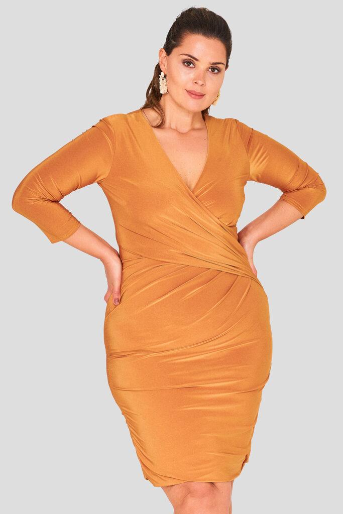 Wrap Front Evening Dress