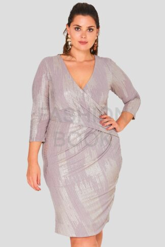 Wrap Front Foil Evening Dress