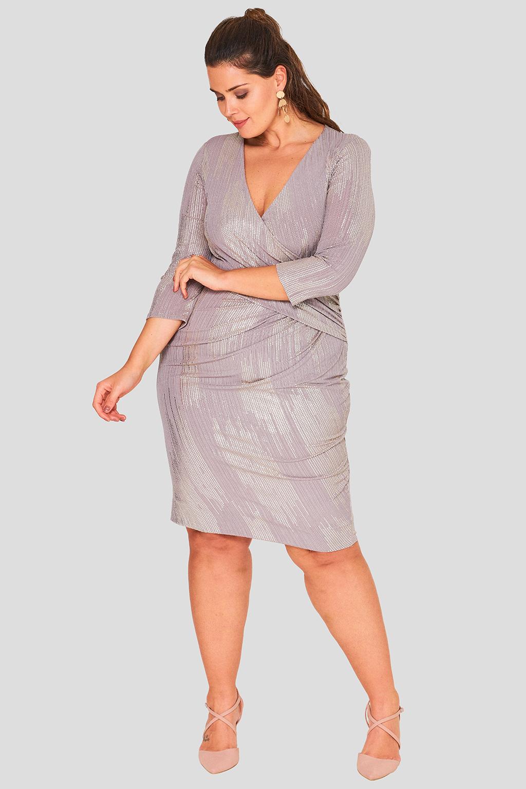 Wrap Front Foil Evening Dress