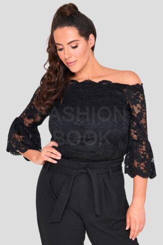 Wholesale Lace Flute Sleeve Plus Size Top