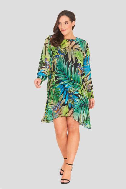 Print Chiffon Plus Size Swing Dress