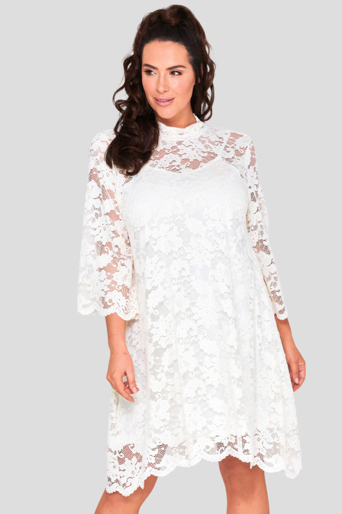 Wholesale High Neck Lace Dress Plus Size
