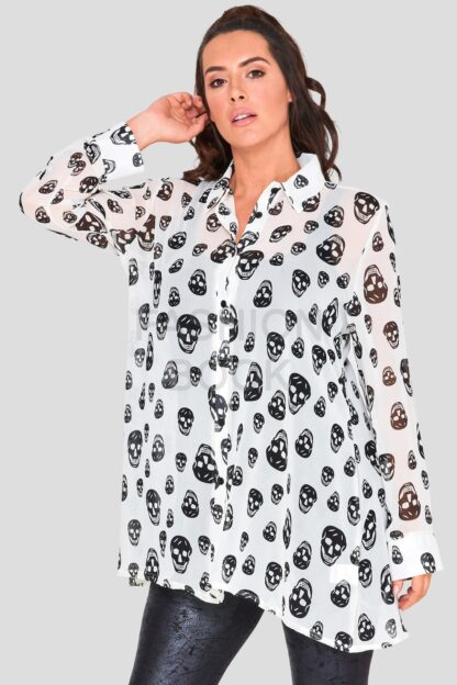 Wholesale Skull Chiffon Swing Shirt