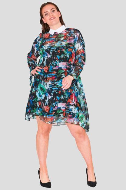 Wholesale Plus Size Swing Chiffon Collar Dress