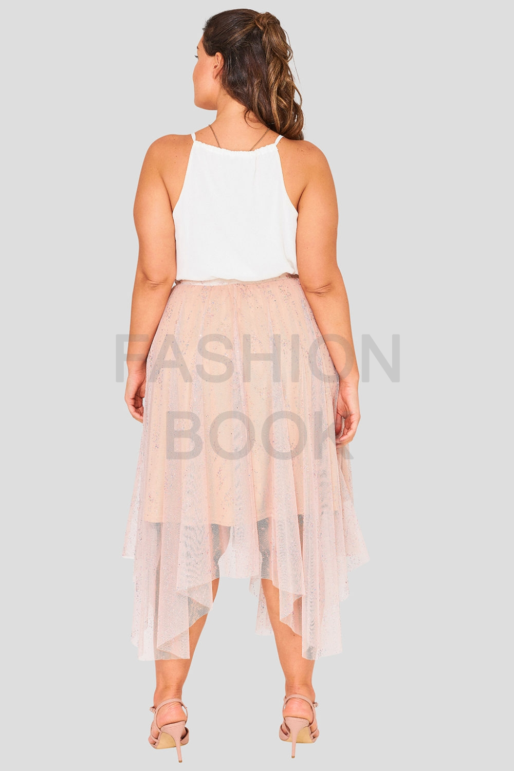 Wholesale Pink Mesh Plus Size Metallic Skirt