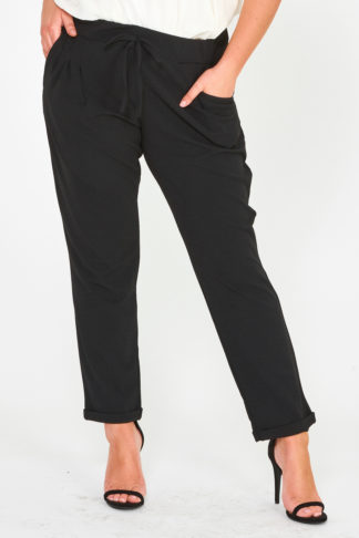 Plus Size Fashion Wholesale - Turn Up Crepe Trousers