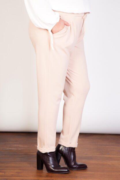 Plus Size Fashion Wholesale - Turn Up Crepe Trousers